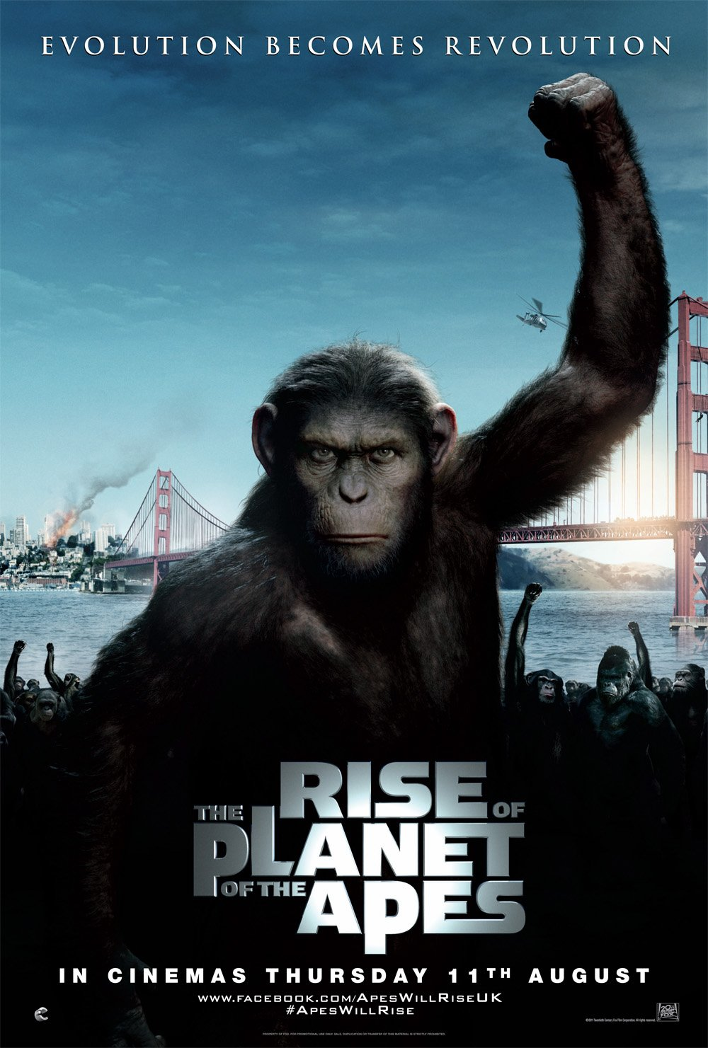 rise of the planet of the apes Rise of the planet of the apes (2011):a substance, designed to help the brain repair itself, gives rise to a super-intelligent chimp who leads an ape uprising.